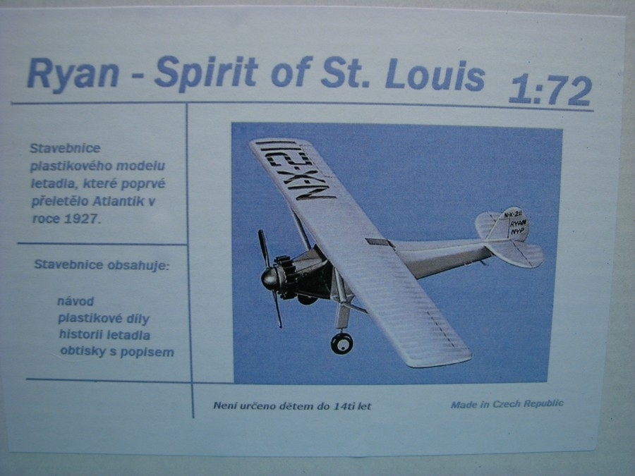 Ryan Spirit of St. Louis 1:72 Igralet